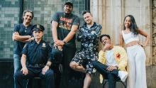 """From left, producer Lawrence Bender, actor Andrew Howard, co-director Travon Free, co-director Martin Desmond Roe, actor Joey Bada$$, and actor Zaria from """"Two Distant Strangers."""""""