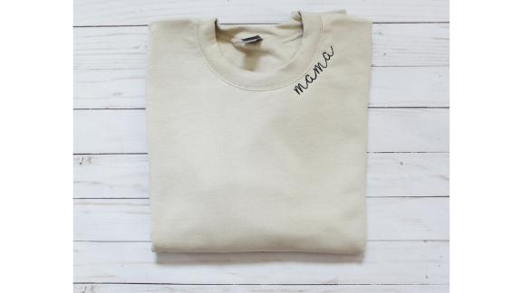 RockCreekEmbroidery Mama Embroidered Collar Crewneck Sweatshirt