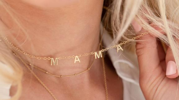 UndertheroseUK Personalized Gold Little Letters Necklace