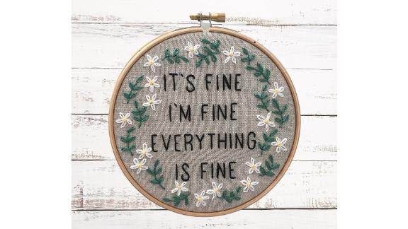 iHeartStitchArt Funny Embroidery Kit: Everything Is Fine