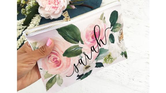 ModParty Personalized Floral Makeup Bag