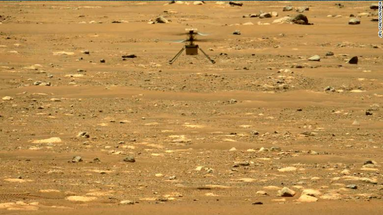 The Perseverance rover captured this image of Ingenuity in flight using its left Mastcam-Z camera.