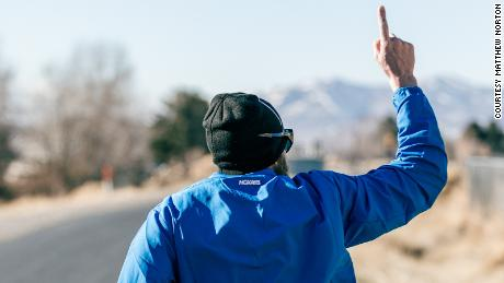 After his first day running, the 'Iron Cowboy' had another 4,220km to run.