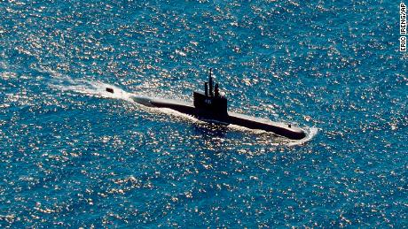 The Indonesian Navy submarine KRI Alugoro participates in the search operation for the missing submarine KRI Nanggala-402 on  Thursday, April 22, 2021.