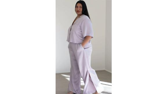 Washable Silk Button-Down Pant Set