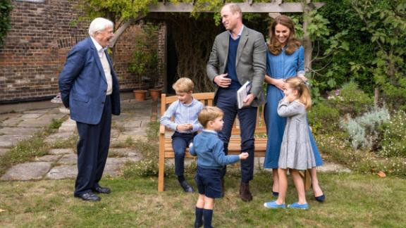 "The royal family meets with naturalist David Attenborough at Kensington Palace in London, in September 2020, after a private screening of Attenborough's latest environmental documentary, ""A Life On Our Planet,"" which focuses on the harm that has been done to the natural world in recent decades."