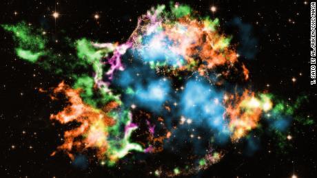 Los astrónomos utilizaron el Observatorio de rayos X Chandra de la NASA para estudiar el remanente de la supernova Cassiopeia A y descubrieron el titanio, que se muestra en azul claro, cuando explotó.  Los colores representan otros elementos detectados, como hierro (naranja), oxígeno (violeta), silicio (rojo) y magnesio (verde).