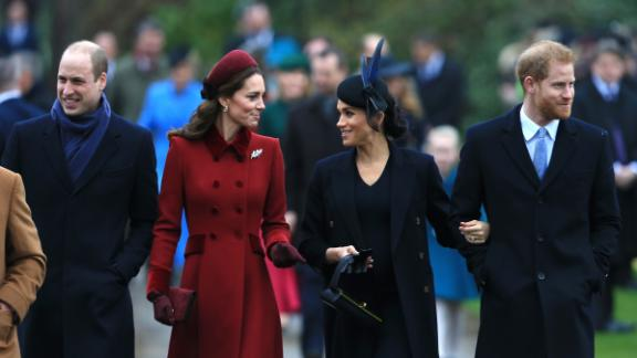 From left: Prince William, Catherine, Meghan, Duchess of Sussex, and Prince Harry, Duke of Sussex, arrive to attend a Christmas Day church service at the Church of St. Mary Magdalene on the Sandringham estate on December 25, 2018, in King's Lynn, England.
