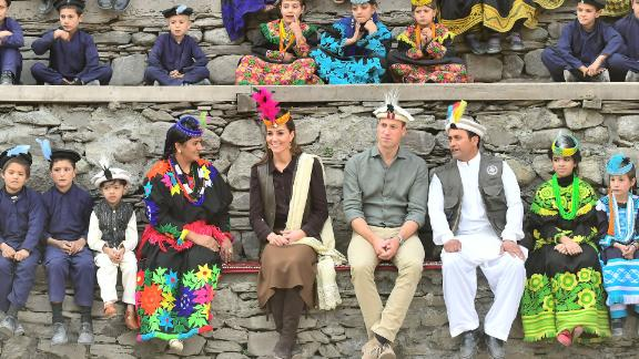 William and Kate visit a settlement of the Kalash people in Chitral, Pakistan, on October 16, 2019.