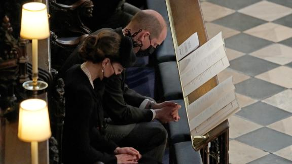 William and Kate attend the funeral service of William's grandfather, Prince Philip, inside St. George's Chapel in Windsor Castle, on April 17.