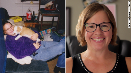 Liller's honesty is shown here when she was 16 (left) and now (right).