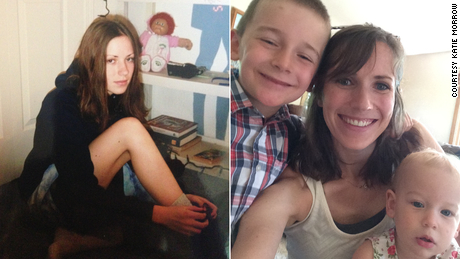 Katie Morrow is shown here when she was 17 (left) and now (right).