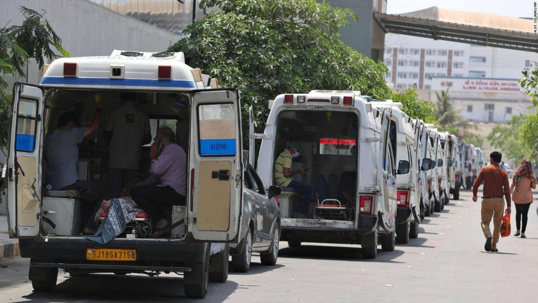 Ambulances carrying Covid-19 patients line up outside a government hospital in Ahmedabad on April 22.