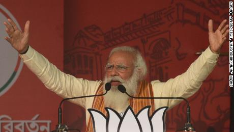 India's Prime Minister Narendra Modi at a rally in Barasat, West Bengal, on April 12.