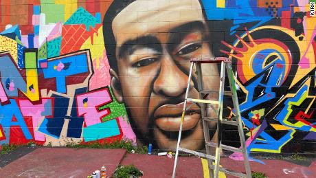 A mural of George Floyd located in Houston was restored after being vandalized