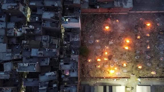 This aerial photo, taken with a drone, shows a mass cremation in New Delhi on April 22.