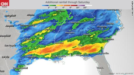 Forecast rainfall accumulations through Saturday