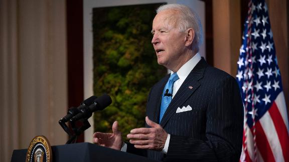 US President Joe Biden delivers remarks and participates in the virtual Leaders Summit on Climate Session 5: The Economic Opportunities of Climate Action from the White House in Washington, DC, on April 23, 2021. (Photo by JIM WATSON / AFP) (Photo by JIM WATSON/AFP via Getty Images)