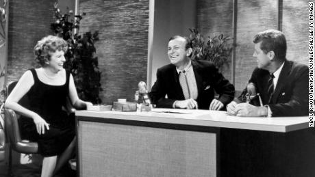 "Actress Peggy Cass, host Jack Paar and Sen. John F. Kennedy during an episode of Paar's ""Tonight"" show in 1960."