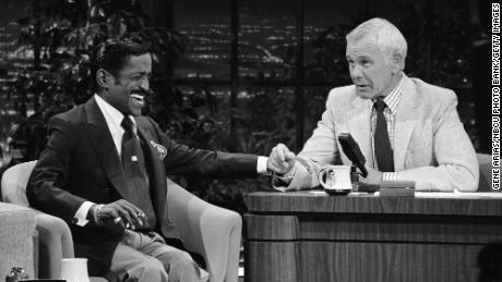 Musical guest Sammy Davis Jr. during an interview with Johnny Carson on February 15, 1984.