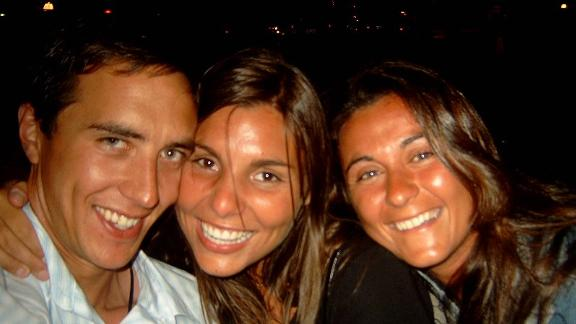 <strong>Holiday romance:</strong> Sebastian and Gianna first met on the beach and later went out together to a bar, along with Gianna's friend Alessandra. This photo was taken that night.