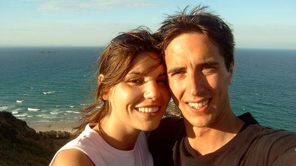 <strong>Beachside romance: </strong>Gianna Mazzeo and Sebastian Guggenberger met on the beaches of Byron Bay in 2003. Here they are on a return trip a few years later.
