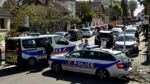 French police officials block off a street near a police station in Rambouillet, south-west of Paris, on April 23, 2021, after a woman was stabbed to death in the town. - A woman was stabbed to death at police station in Rambouillet near Paris after an attack by a Tunisian man who was shot dead according to police sources. (Photo by Bertrand GUAY / AFP) (Photo by BERTRAND GUAY/AFP via Getty Images)