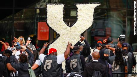 Mourners at the memorial service for rapper DMX on Saturday, April 24.