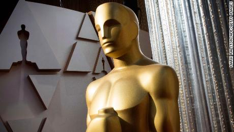 An Oscars statue is displayed on the red carpet area on the eve of the 92nd Oscars ceremony at the Dolby Theatre in Hollywood, California, on February 8, 2020.