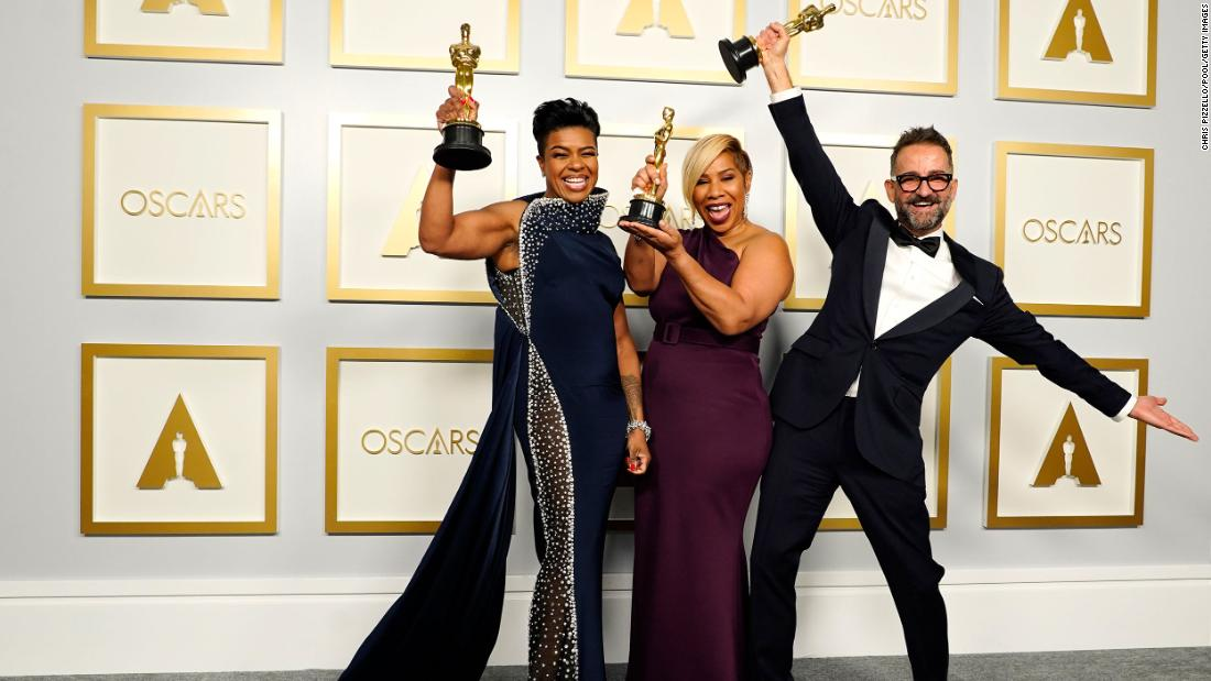 "From left, Mia Neal, Jamika Wilson and Sergio Lopez-Rivera pose with the Oscars they won for best makeup and hairstyling (""Ma Rainey's Black Bottom"")."
