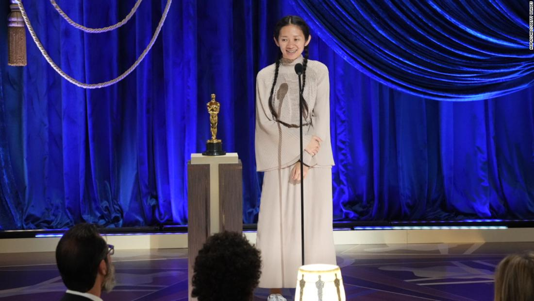 "Chloé Zhao accepts the best director Oscar for ""Nomadland."" She is the first woman of color and the first woman of Asian descent <a href=""https://www.cnn.com/2021/04/25/entertainment/chloe-zhao-oscar-win/index.html"" target=""_blank"">to win best director.</a> ""This is for anyone who has the faith and the courage to hold out to the goodness in themselves and to hold out to the goodness in each other, no matter how difficult it is to do that,"" she said in her acceptance speech. ""You inspire me to keep going."""