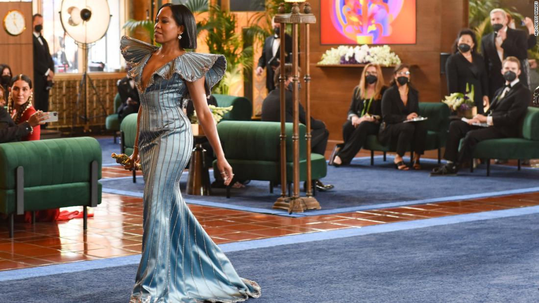 "Actress and director Regina King opened the show at Union Station. She delivered a <a href=""https://www.cnn.com/entertainment/live-news/oscars-2021/h_313cd228c7644d9a54d5e67f2784e82a"" target=""_blank"">hopeful monologue</a> and said that if things had gone differently in the trial of former Minneapolis police officer Derek Chauvin, she probably would have been out marching instead of presenting. ""As a mother of a Black son, I know the fear that so many live with -- and no amount of fame or fortune changes that,"" she said."