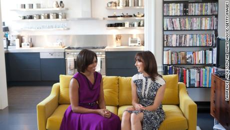 US first lady Michelle Obama and Samantha Cameron, wife of British Prime Minister David Cameron, talk in the Camerons' private residence at Downing Street in 2011.