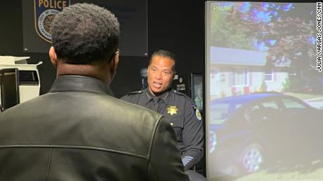Chief Daniel Hahn of the Sacramento Police Department speaks to CNN at immersive video training facility.
