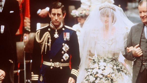 (From left) Prince Charles of Wales and the late Diana, Princess of Wales, are shown at their wedding at St. Paul's Cathedral in London.
