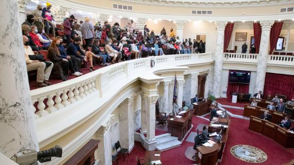As HB377 is debated and passed by the Idaho Senate Monday, April 26, students and teachers filled the gallery.