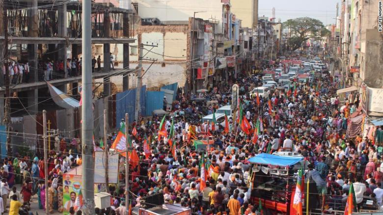 Members of Prime Minister Modi's Bharatiya Janata Party (BJP) held rallies despite rising Covid cases.
