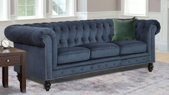 Eufaula 87.5-Inch Rolled Arm Chesterfield Sofa