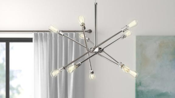 Wade Logan Waycross 10-Light Unique Modern Linear Chandelier