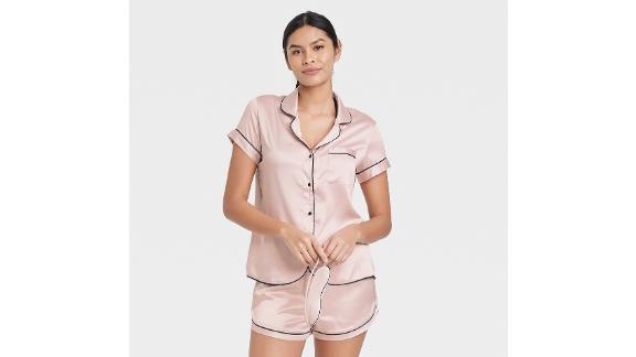 Stars Above 3-Piece Satin Notch Collar Top Pajama Set