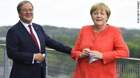 North Rhine-Westphalia Governor, Armin Laschet, and  German Chancellor, Angela Merkel, visit a former coal mine in August 2020.