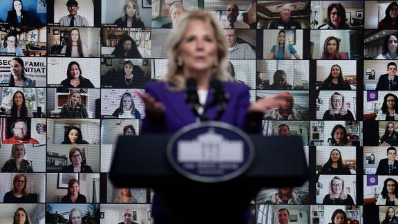 Biden, seen here speaking about military families during a virtual event, is her own first lady with her own mission.