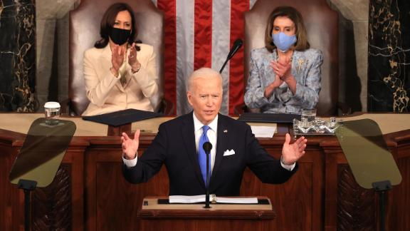 U.S. President Joe Biden addresses a joint session of congress as Vice President Kamala Harris (L) and Speaker of the House U.S. Rep. Nancy Pelosi (D-CA) (R) look on in the House chamber of the U.S. Capitol April 28, 2021 in Washington, DC.