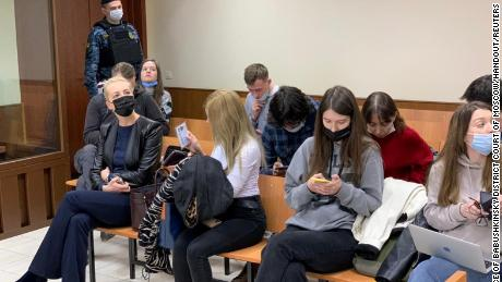 Yulia Navalnaya, front left, in court in Moscow on Thursday.