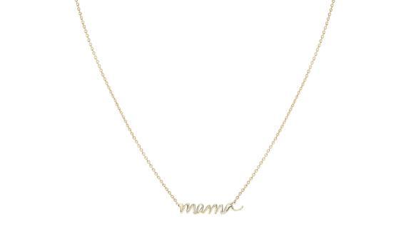 Mama Script Necklace, 14-Karat Yellow Gold