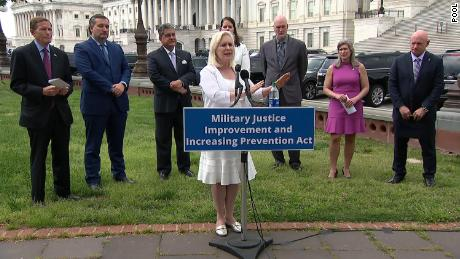 Lawmakers seen Thursday announcing the new legislation targetting sexual assaults in the military.
