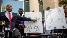 Attorneys for the family of Andrew Brown Jr., Wayne Kendall, left, and Ben Crump hold a news conference on April 27, 2021, outside the Pasquotank County Public safety building in Elizabeth City.