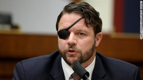 """House Homeland Security Committee member Dan Crenshaw questions witnesses during a hearing on """"worldwide threats to the homeland"""" in the Rayburn House Office Building on Capitol Hill, September 17, 2020."""