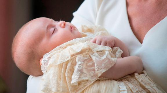 Prince Louis is held at his christening in 2018.