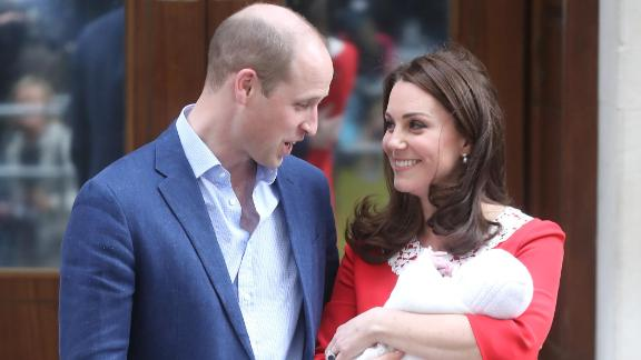 William and Catherine leave the hospital with Prince Louis after his birth in 2018.